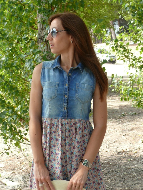 denim & floral dress